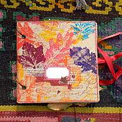 """Канцелярские товары ручной работы. Ярмарка Мастеров - ручная работа Блокнот """"Осенние листья"""" квадратный. Handmade."""