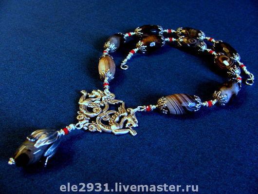 """Колье, бусы ручной работы. Ярмарка Мастеров - ручная работа. Купить Ожерелье из агатов и гранатов в стиле """"винтаж"""". Handmade."""