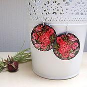 Украшения handmade. Livemaster - original item Transparent Earrings Pattern Red Flowers on a Black Resin rustic Boho. Handmade.