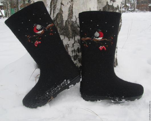 """Обувь ручной работы. Ярмарка Мастеров - ручная работа. Купить Валенки """"Зимняя птица"""". Handmade. Черный, валенки с рисунком"""