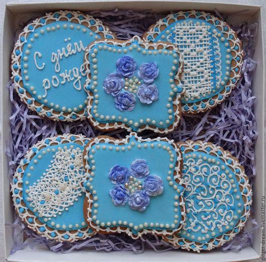 Пряники имбирные `Голубые розы` на заказ от  Ginger-Dream