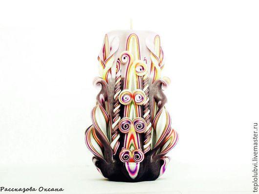 Свечи ручной работы. Ярмарка Мастеров - ручная работа. Купить Резная свеча ручной работы - Резная свеча Пепельная. Handmade.