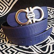 Аксессуары handmade. Livemaster - original item Genuine crocodile leather belt, in blue color!. Handmade.