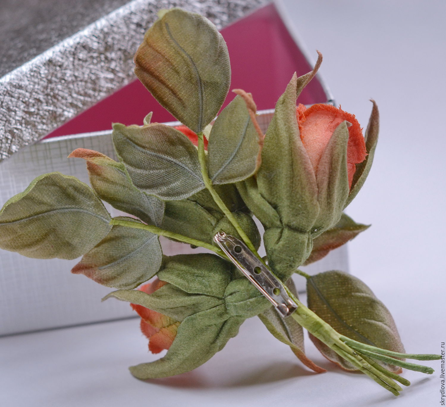 Cloth Flowers Brooch A Bouquet Of Roses Orange Mood Shop
