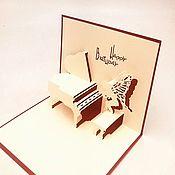 Открытки handmade. Livemaster - original item Angel at the piano Happy birthday! - 3D handmade greeting card. Handmade.