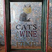 Копилки ручной работы. Ярмарка Мастеров - ручная работа Рамка, Копилка для пробок Cats and wine make everything fine. Handmade.