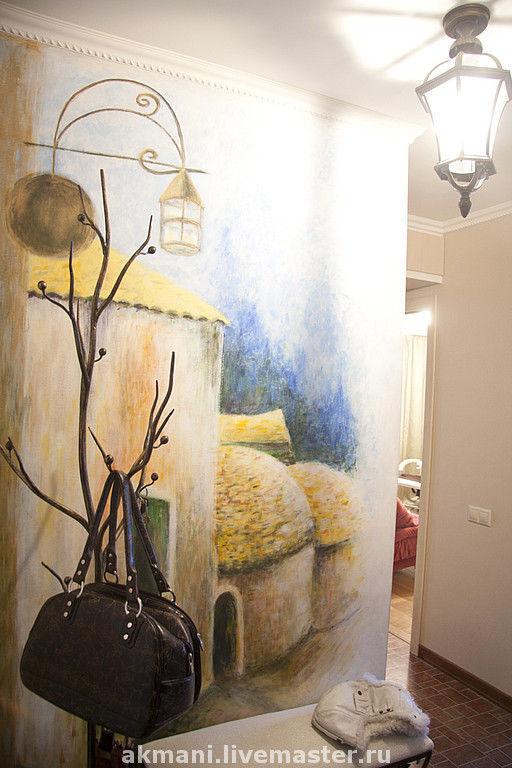 """Декор поверхностей ручной работы. Ярмарка Мастеров - ручная работа. Купить Роспись стены прихожей """"Французская деревушка"""". Handmade."""