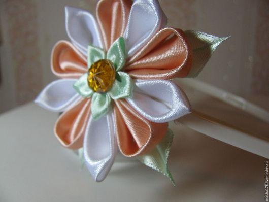 """Диадемы, обручи ручной работы. Ярмарка Мастеров - ручная работа. Купить Ободок """"Утро"""". Handmade. Бежевый, цветы из ткани, нежный"""