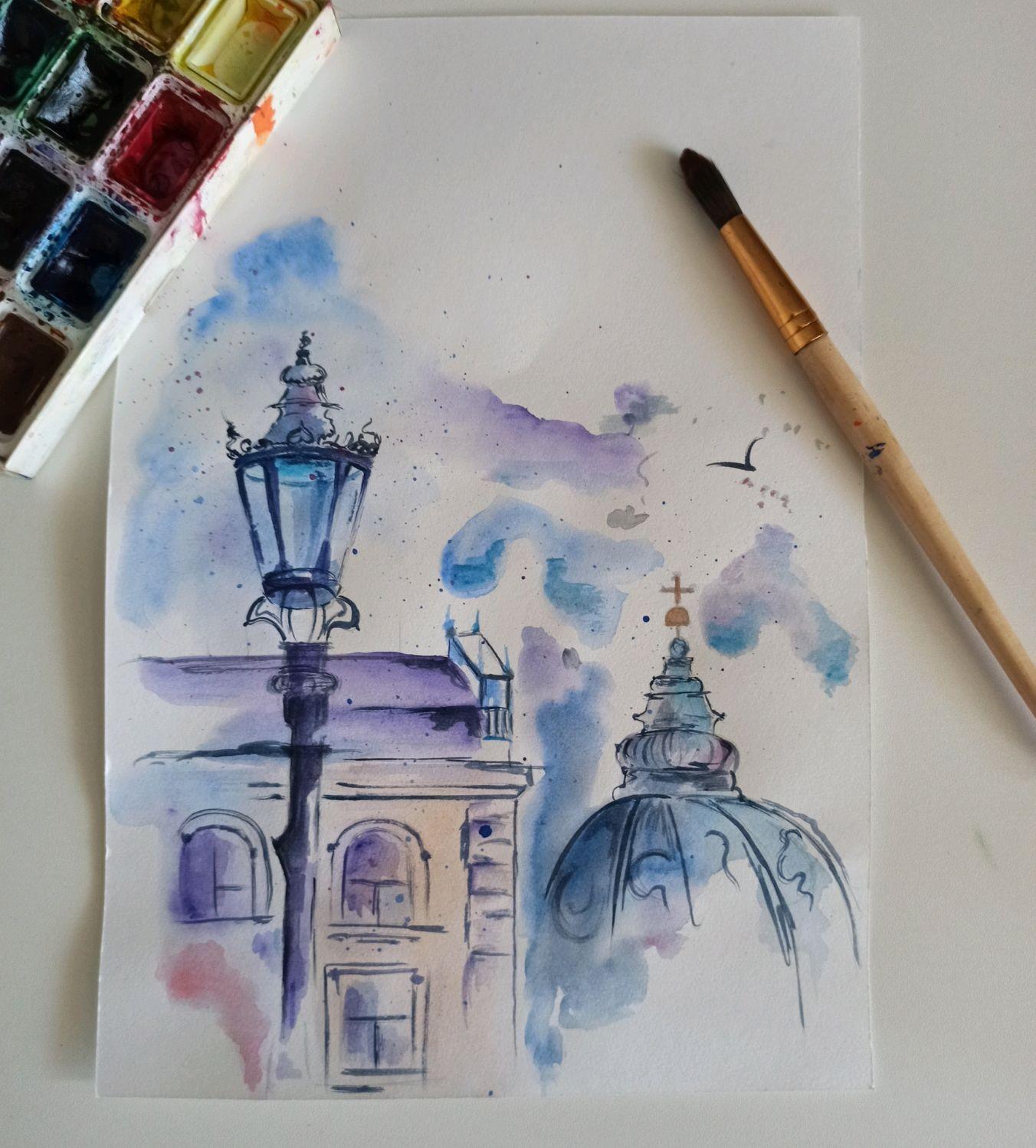 Акварельная иллюстрация (открытка), Иллюстрации, Астрахань,  Фото №1