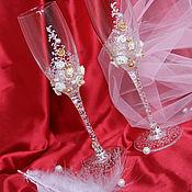 """Свадебный салон ручной работы. Ярмарка Мастеров - ручная работа Свадебные бокалы """"Нежность золота"""". Handmade."""