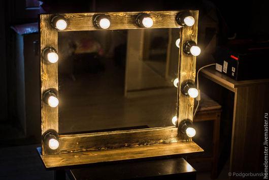 Зеркала ручной работы. Ярмарка Мастеров - ручная работа. Купить Гримерное зеркало. Handmade. Зеркало, визаж, визажное, дерево, led