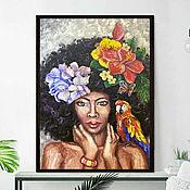 Картины и панно handmade. Livemaster - original item Oil painting African Woman with flowers Abstract. Handmade.