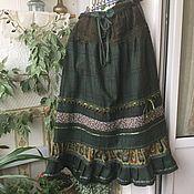 Одежда ручной работы. Ярмарка Мастеров - ручная работа Юбка зимняя бохо хвойная. Handmade.