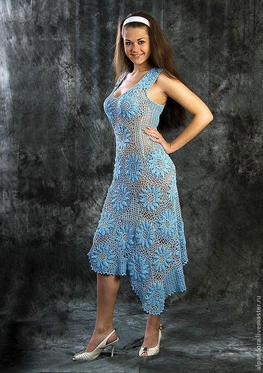 """Платья ручной работы. Ярмарка Мастеров - ручная работа. Купить Платье """"Голубые ромашки"""". Handmade. Вязаное платье, вискоза"""