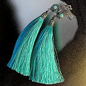 Украшения handmade. Livemaster - original item Earrings-brush sky blue with natural stones. Handmade.