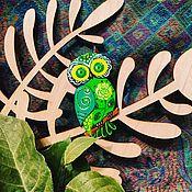 Украшения ручной работы. Ярмарка Мастеров - ручная работа Брошь Green owl. Handmade.