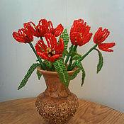 Одежда ручной работы. Ярмарка Мастеров - ручная работа Тюльпаны из бисера. Handmade.