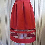 Одежда ручной работы. Ярмарка Мастеров - ручная работа Юбка из габардина с вставками фатина. Handmade.