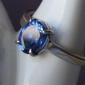 """Серебряное кольцо с натуральным танзанитом """"Голубая кровь"""""""