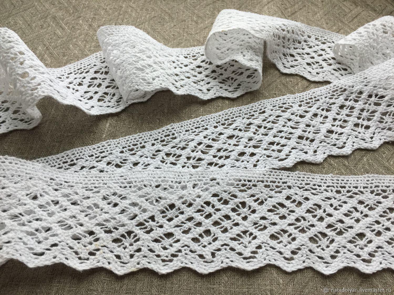 Lace cotton ' White 70mm', Lace, Ivanovo,  Фото №1