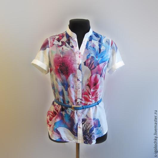 Блузки ручной работы. Ярмарка Мастеров - ручная работа. Купить Рубашка-туника из хлопка. Handmade. Разноцветный, блузка-туника, фиолетовый