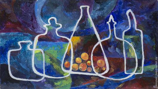 """Натюрморт ручной работы. Ярмарка Мастеров - ручная работа. Купить Картина Маслом на холсте """"Сосуды"""". Handmade. Тёмно-синий"""