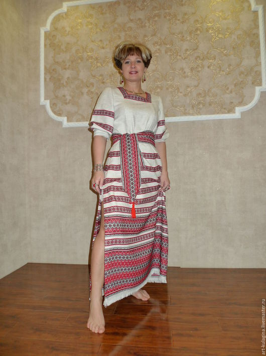 Этническая одежда ручной работы. Ярмарка Мастеров - ручная работа. Купить Платье в славянском стиле, р-р 46-48. Handmade.