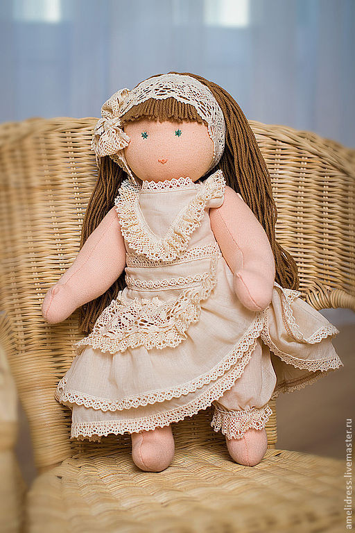 Вальдорфская игрушка ручной работы. Ярмарка Мастеров - ручная работа. Купить Вальдорфская кукла. Handmade. Бежевый, кружева, натуральная шерсть