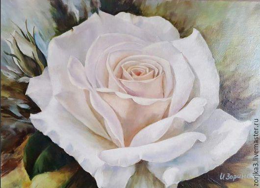 Картины цветов ручной работы. Ярмарка Мастеров - ручная работа. Купить Белая роза. Картина маслом.. Handmade. Белый