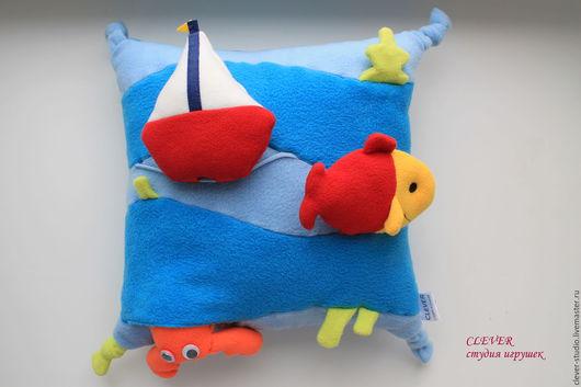 """Развивающие игрушки ручной работы. Ярмарка Мастеров - ручная работа. Купить Игрушка-подушка """"Морская"""". Handmade. Голубой, рыба, пищалка"""
