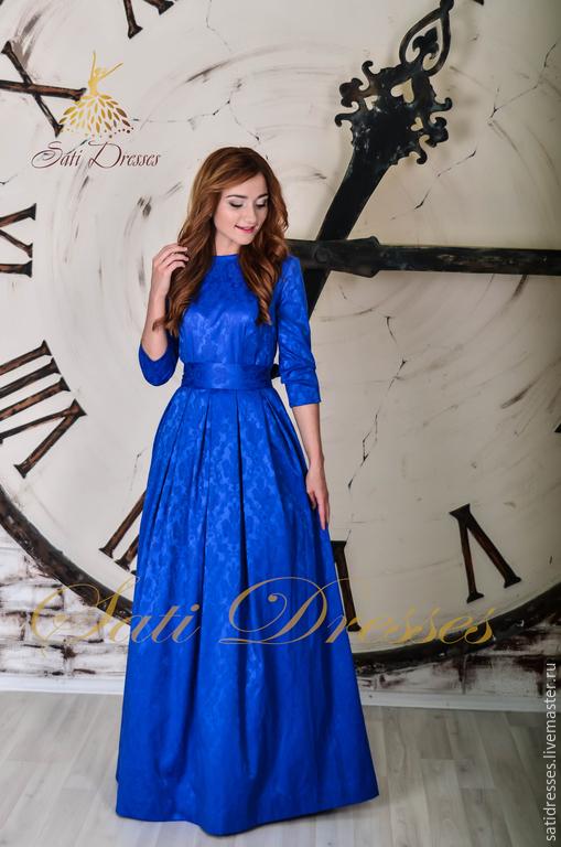 Длинные платья из жаккарда фото