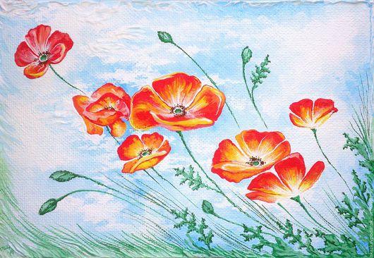 """Картины цветов ручной работы. Ярмарка Мастеров - ручная работа. Купить картина """"О чём шепчет мак..."""". Handmade."""