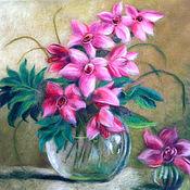 """Картины и панно ручной работы. Ярмарка Мастеров - ручная работа Картина шерстью """"Орхидеи в вазе"""". Handmade."""