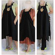 Одежда ручной работы. Ярмарка Мастеров - ручная работа платье 54-58 разм изо льна и фартук с  карманами терракот  чёрный. Handmade.