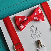 Аксессуары handmade. Livemaster - original item Christmas set: red suspenders red bow tie Snowflakes. Handmade.