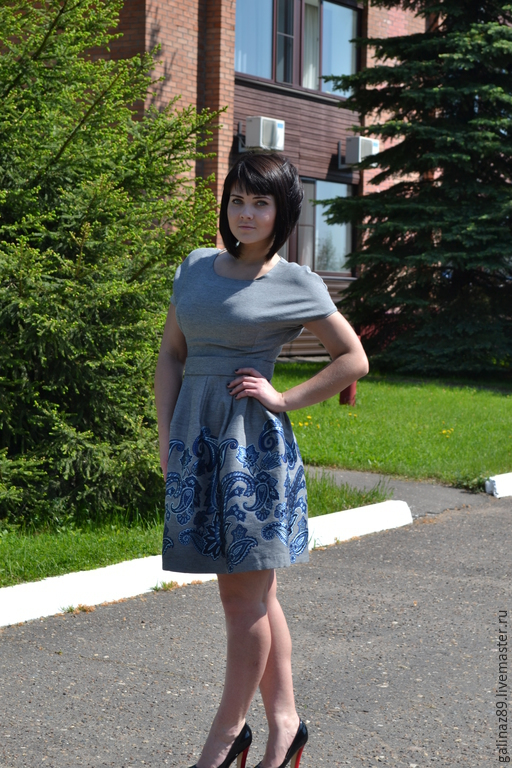 Платья ручной работы. Ярмарка Мастеров - ручная работа. Купить Платье из жаккардовой ткани Райский сад-1. Handmade. Серый
