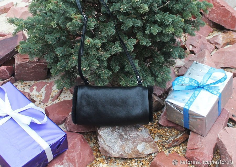 Clutch Bag hand made of leather and fur lambskin Black, Clutch, Moscow,  Фото №1