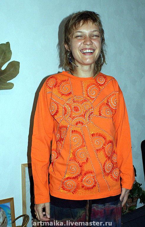 Кофты и свитера ручной работы. Ярмарка Мастеров - ручная работа. Купить Джемпер Оранжевое солнце. Handmade. Футболки с рисунками, яркий