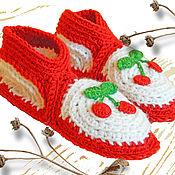 Обувь ручной работы. Ярмарка Мастеров - ручная работа Вязаные тапочки Вишенки. Handmade.