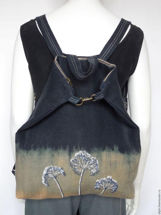 рюкзак городской, рюкзак льняной, вощёный лён, деревенский стиль, купить городской рюкзак, стильный рюкзак
