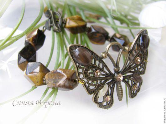 Браслеты ручной работы. Ярмарка Мастеров - ручная работа. Купить Браслет Бабочка из натуральных камней. Handmade. Коричневый, подарок