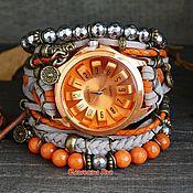 handmade. Livemaster - original item Wrist watch with agate and hematite
