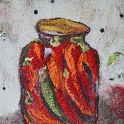 Картины и панно ручной работы. Ярмарка Мастеров - ручная работа Войлок, панно Острый перчик-1. Handmade.