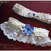 """Свадебный салон ручной работы. Ярмарка Мастеров - ручная работа Подвязки для невесты """"Синяя гортензия"""" разные цвета. Handmade."""