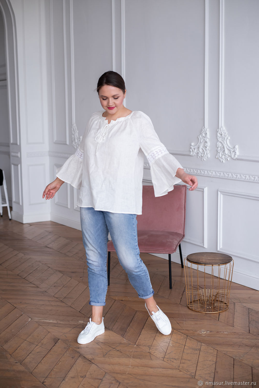 Льняная блузка с кружевом и шнуровкой белая, Блузки, Новосибирск,  Фото №1