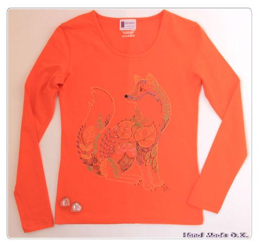 """Кофты и свитера ручной работы. Ярмарка Мастеров - ручная работа. Купить Женский трикотажный джемпер, с ручной росписью, """"Рыжий лис"""". Handmade."""