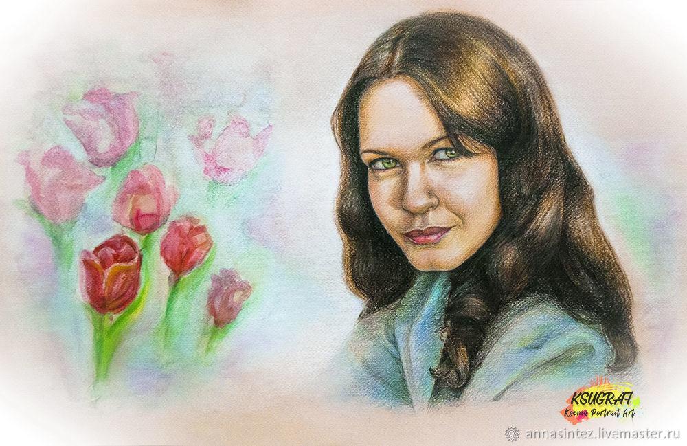 Портрет на заказ подарок подруге 30х40, Картины, Москва,  Фото №1