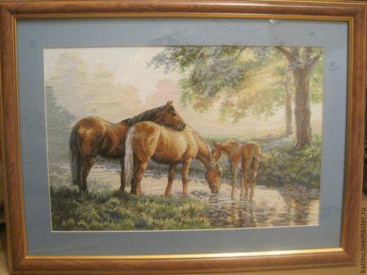 Животные ручной работы. Ярмарка Мастеров - ручная работа. Купить Лошади у источника картина вышивка (вышитая) крестом. Handmade. Лошади