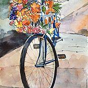 """Картины и панно ручной работы. Ярмарка Мастеров - ручная работа Картина, акварель, бумага, """"Велосипед"""". Handmade."""
