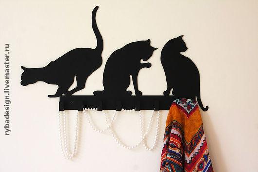"""Прихожая ручной работы. Ярмарка Мастеров - ручная работа. Купить Вешалка """"Кошки"""". Handmade. Вешалка, предмет интерьера, вешалка настенная"""